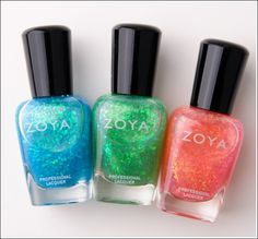 Now Zoya has glitter-flecked goodness to layer over your fave polishes! The Fleck Effect collection includes three jelly-like, highly glittery shades.