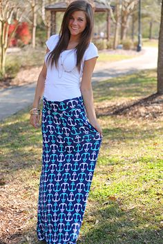 """Set sail in style with this adorable anchor-printed maxi skirt! We love how this super comfy material feels and cannot get over those adorable white and aqua anchors! Perfect for a summer trip to the beach!;) Fits true to size. Miranda is wearing a small. From the waist  to the hem: S-40"""" M-41"""" L-41.5"""""""