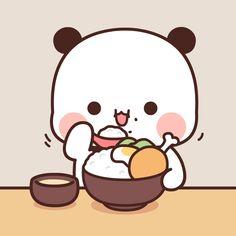 Cute Bunny Cartoon, Cute Couple Cartoon, Cute Cartoon Pictures, Cute Love Cartoons, Cartoon Pics, Chibi Panda, Chibi Cat, Cute Anime Chibi, Panda Wallpapers