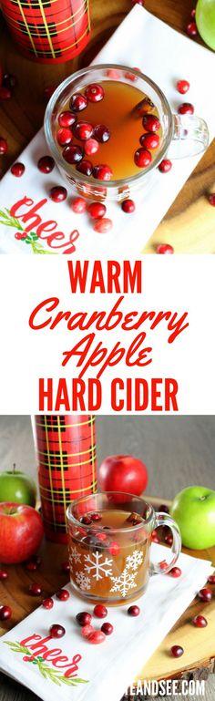 Warm Cranberry Apple Hard Cider - a yummy winter warmer!!  With apple cider, cranberry juice, cinnamon, ginger & Kentucky bourbon.