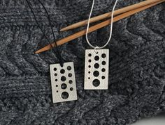 Knitting Needle Gauge Sterling Silver Necklace On Cotton Cord Knitpurletc