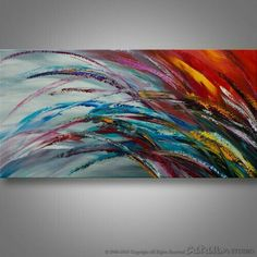 Pintura colorful abstract painting like a wave of crashing rainbow.