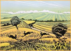 Field Chasers - Linocut by Rob Barnes. http://www.robbarnesart.co.uk/ Tags: Linocut, Cut, Print, Linoleum, Lino, Carving, Block, Woodcut, Helen Elstone, Landscape, Trees, Animals, Sky