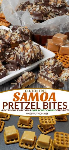 Gluten-Free Samoa Pretzel Bites Recipe - A Delicious Twist On A Girl Scout Cookie Favorite! Looking for an amazing Gluten-Free Samoa Cookie Recipe? Our gluten-free Samoa Pretzel Bites recipe combines all of the flavors of this Girl Scout Cookie favorite Köstliche Desserts, Delicious Desserts, Dessert Recipes, Yummy Food, Dinner Recipes, Icing Recipes, Candy Recipes, Sweet Recipes, Holiday Recipes
