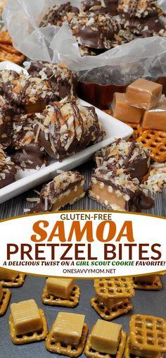 Gluten-Free Samoa Pretzel Bites Recipe - A Delicious Twist On A Girl Scout Cookie Favorite! Looking for an amazing Gluten-Free Samoa Cookie Recipe? Our gluten-free Samoa Pretzel Bites recipe combines all of the flavors of this Girl Scout Cookie favorite, into one amazingly delicious {gluten-free} sweet treat!