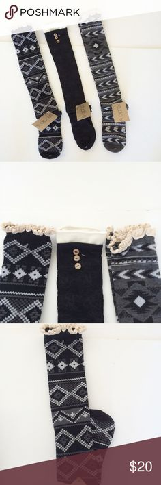 NWT Knee Socks Bundle Three pair of knee high socks. Size 4-10. Two pair have lace tops. Black pair has buttons with a subtle print as shown in photo. New with tags. Perfect stocking stuffer🎄 Studio S Accessories Hosiery & Socks