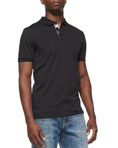 Check-Placket Pique Polo, Black  by Burberry Brit at Neiman Marcus.