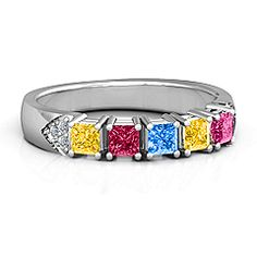Classic 2-7 Princess Cut Mother's Ring with Accents #jewlr