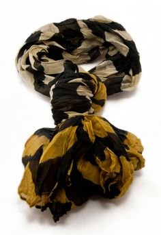 Ombre Stripe Scarf in Taupe, Black and Mustard