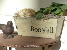 Halloween idea for all of y'all Southerners......love it! Decor & More: Boo Y'all Painted Planter #heidimilton.com