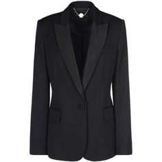 Stella McCartney Black Tuxedo Ingrid Jacket ($1,570) ❤ liked on Polyvore featuring outerwear, jackets, blazers, coats, black, black lapel blazer, one button tuxedo, black dinner jacket, tailored blazer and one button blazer