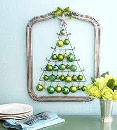 Christmas ornaments.. Can use the green ones we have to do this somewhere else in the house or maybe the front door