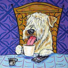 Soft Coated Wheaton Terrier coffee dog art tile