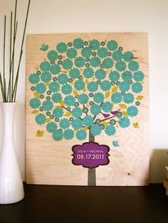 Wedding Guestbook Alternative on Wood Panel, Signature Flowers, 16X20 Inches, More sizes available. $84.00, via Etsy.