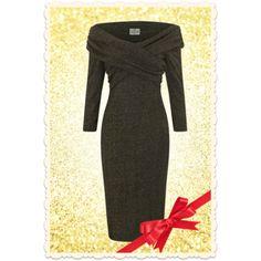 Robe glamour rétro années 50 hollie en lurex or/noir, doublée et manches 3/4  via missretrochic.com