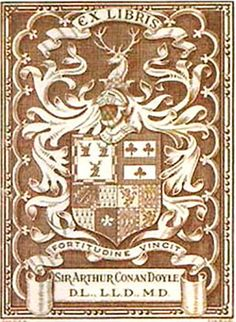 Bookplate of Sir Arthur Conan Doyle. The Art of Manliness blog. The bookplates of men.