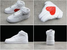 Size Euro 44.5 Popular Nike Air Force 1 Mid Triple White Valentines Day  Love Limit Couple