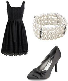 black outfit with pearls