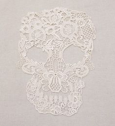 New arrival handmade diy clothes accessories laciness embroidery skull lace cutout fabric patch $9.57