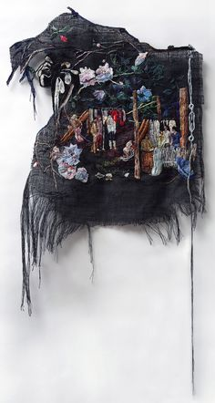 The Heavenly Union Of Painting And Embroidery, Courtesy Of Artist Sophia Narrett / She Whispered and They Tried Things on, 2014