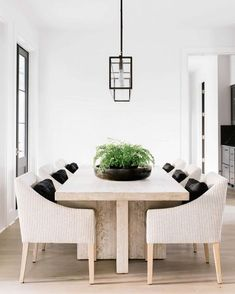 I'll never tire of black, white and wood tones! Dining room table centerpiece!