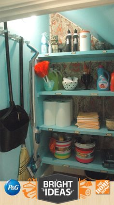 Jenny from Little Green Notebook takes an awkward under-the-stairs coat closet and gives it life and purpose as an organized cleaning supply closet.
