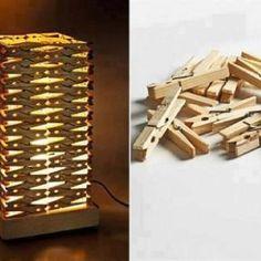 Diy lampe à poser faite avec des pinces à linge en bois