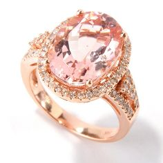 Gem Treasures 14K Rose Gold 6.46ctw Oval Morganite & Diamond Halo Ring on sale at ShopHQ.com
