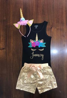 Unicorn t-shirt with sequin shorts. Black shirts available sizes if interesed request when placing your order. Uni Fashion, Girls Fashion Clothes, Girl Fashion, Unicorn Fashion, Unicorn Outfit, Girls Tulle Skirt, Girls Dresses, Unicorn Birthday, Girl Birthday