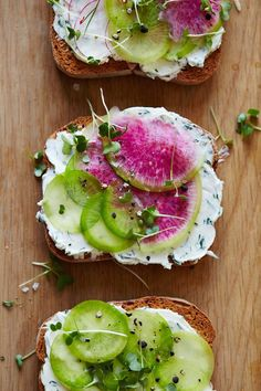 Herbed Goat Cheese and Watermelon Radish Tartines #goatcheese #watermelon #radish