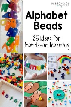 We LOVE using alphabet beads to teach - they're full of hands-on learning possibilities! Check out 25 different ideas, including ways to use them in a literacy center, writing center, as name recognition, and for alphabet sensory play! Preschool Names, Preschool Literacy, Preschool Letters, Preschool Crafts, Preschool Teachers, Kids Crafts, Phonics Activities, Alphabet Activities, Kindergarten Activities