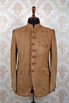 Light #brown italian #dashing slim fit #suit with mandarin collar -ST370