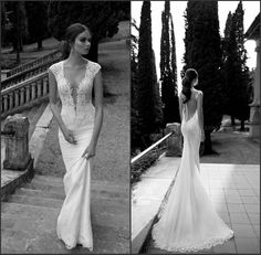 2014 Berta Bridal Gown Custom Made Pearls Lace Bodice Deep V Neck Tulle Sheer Back Cap Sleeves Court Train Fitted Mermaid Wedding Dress