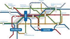 Mit einer an einen U-Bahn Fahrplan angelegten Infografik erläutert das neue Online-Institut der HFH Hamburger Fern-Hochschule auf der Startseite des Instituts das Fernstudienkonzept.