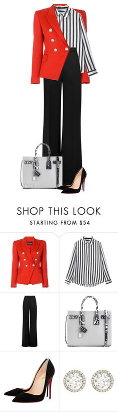 """Untitled #1040"" by dida-zalesakova ❤ liked on Polyvore featuring Balmain, Roksanda, Yves Saint Laurent, Christian Louboutin and Kiki mcdonough"