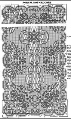 Crochet Table Runner Pattern, Crochet Doily Diagram, Filet Crochet Charts, Crochet Doily Patterns, Crochet Tablecloth, Thread Crochet, Crochet Doilies, Fillet Crochet, Crochet Curtains