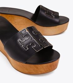 Visit Tory Burch to shop for Ines Wedge Slide and more Women's Sale. Find designer shoes, handbags, clothing & more of this season's latest styles from designer Tory Burch. Work Fashion, Latest Fashion, Tory Burch, Block Sandals, Warm Weather, Designer Shoes, Black Silver, Clogs, Espadrilles