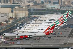 A lonely Virgin leading an endless row of Emirates aircraft. Konstantin von Wedelstaedt