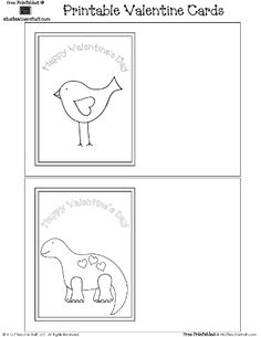 Printable Valentines Day Cards To Print And Color Features A Lovely Bird Friendly Dinosaur