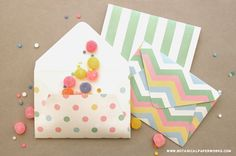 Wrap up some Easter treats in these free printable envelopes. Download the three fresh and springy patterns - polka dots, stripes and chevron. Then tuck in some small treats for a fun Easter surprise.