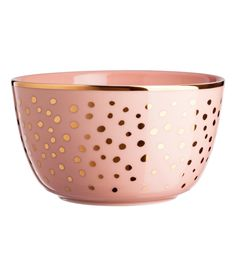 Spotted porcelain bowl with a gold-coloured rim. Height cm, diameter at the top 13 cm. Pink Bowls, Bowl Light, Hm Home, Gift Card Shop, Pink Home Decor, Music Gifts, H&m Gifts, Pink Art, H&m Online
