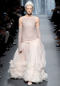 The Over 40 Bride, Spring 2011 Couture - Defying convention, Lagerfeld chose Kristen McMenamy to close his couture show wearing an embellished top and skirt redefining what it means to be a mature bride.