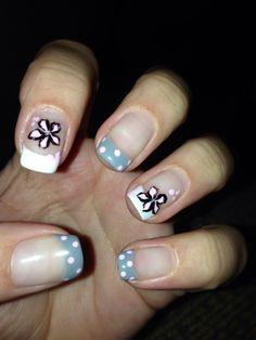 Grey and pink gel nail design
