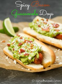 Spicy Bacon Guacamole Dogs: Spicy grilled hot dogs smothered with roasted jalapeno & garlic bacon guacamole + cotija cheese Sausage Recipes, Beef Recipes, Cooking Recipes, Healthy Recipes, Recipies, Burger Recipes, Grilling Recipes, Hot Dog Recipes, Wrap Recipes