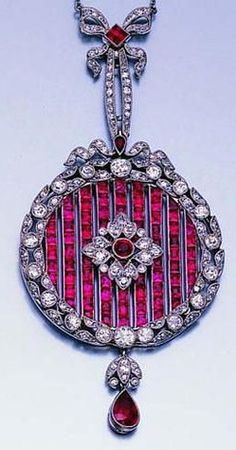 A Fine Edwardian Ruby and Diamond Pendant.