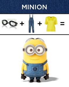 2014 Super-Simple Halloween Minion Costumes - Yellow T-shirt, Blue Jeans, Black Glass