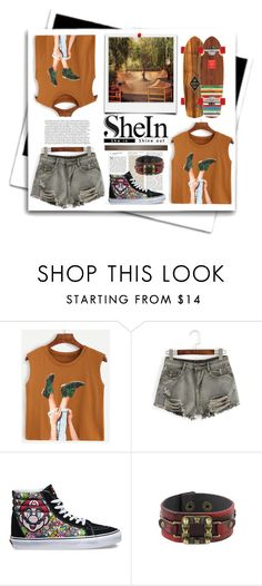 """""""Shein : Camel Graphic Print Top"""" by viebunny ❤ liked on Polyvore featuring WithChic, Vans, ootd, top, skater and shein"""