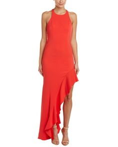 Jay Godfrey Womens Bell High Slit Gown, 2, Red. Color/pattern: coral red. Approximately 62in from shoulder to hem. Measurement was taken from a size 2 and may vary slightly by size. Design details: flounce hem, high slit, center back zipper with hook-and-eye closure. 98% polyester, 2% spandex.