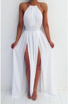 Simple A-line Prom Dress,sexy Prom Dress,cheap Prom Dress,backless Long Prom Dress,chiffon Evening Dress White Maxi Dresses, Pretty Dresses, Sexy Dresses, Beautiful Dresses, Prom Dresses, White Dress, Dress Prom, Beach Party Dresses, Greek Bridesmaid Dresses