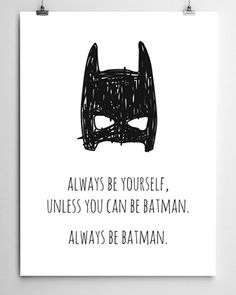 Super cool Batman Print by Meeny Miny, available in A4 size & A3 size. Main Image: A3 Size Second Image (styled in frame) shows A4 Size A super print for the kids room, the nursery or the playr...